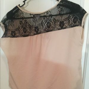 Pale pink blouse with black lace